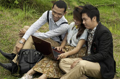 Business meeting in the rice field landscape. Stock Photo