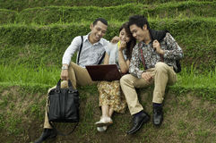 Business meeting in the rice field landscape. Stock Photography