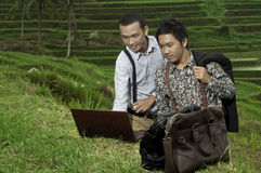 Business meeting in the rice field landscape. Stock Photos