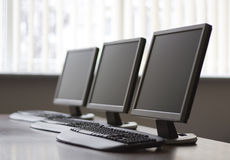Business meeting room. Computers desk Royalty Free Stock Photo