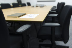 Business meeting room (Chairs, paper, preparation) Royalty Free Stock Photo