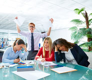 Business meeting sad expression negative gesture. Business meeting sad expression bad negative gesture young teamwork Stock Photography