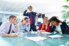 Business meeting sad expression negative gesture. Business meeting sad expression bad negative gesture young teamwork Stock Images
