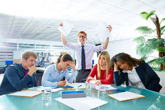 Business meeting sad expression negative gesture. Business meeting sad expression bad negative gesture young teamwork Royalty Free Stock Image