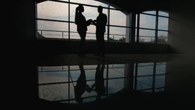 Business meeting, silhouettes of men and women. Communicate against the background of a large window stock video footage