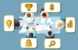 Business meeting strategy brainstorming concept. Vector illustration in an aerial top view with people sitting in an office around royalty free illustration
