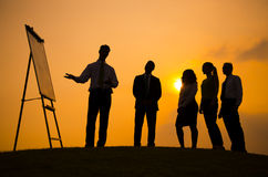 Business Meeting Sunset Outdoors Consultant Concept Stock Image