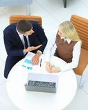 Business meeting at the table with laptop Royalty Free Stock Images