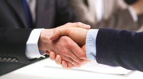 Business meeting at the table top view.  Royalty Free Stock Photos