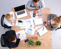 Business meeting at the table top view.  Stock Images