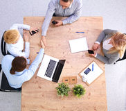 Business meeting at the table top view.  Stock Image