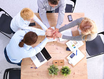 Business meeting at the table top view.  Royalty Free Stock Image