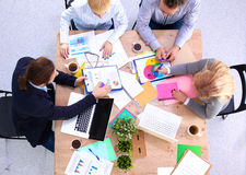 Business meeting at the table top view.  Stock Photography