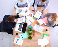 Business meeting at the table top view.  Royalty Free Stock Images