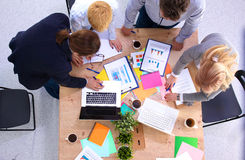 Business meeting at the table top view.  Royalty Free Stock Photography