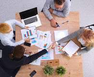 Business meeting at the table top view Royalty Free Stock Image