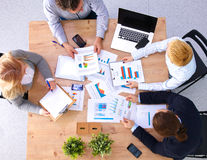 Business meeting at the table top view Stock Images