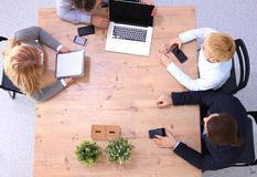 Business meeting at the table top view Royalty Free Stock Photo
