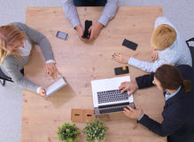 Business meeting at the table top view.  Stock Photo