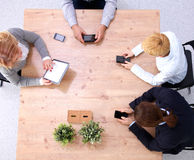 Business meeting at the table top view.  Royalty Free Stock Photo