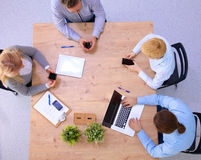 Business meeting at the table top view Stock Image