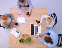 Business meeting at the table top view.  Stock Photos