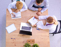 Business meeting at the table. View from above Royalty Free Stock Photo