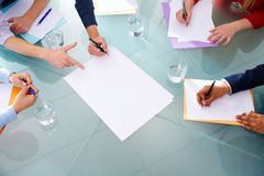 Business meeting teamwork aerial hands papers Stock Photography