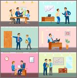 Business Meeting, Teamwork Brainstorming in Office. Vector. Dismissal of worker, man fired by boss walking with cartonboard boxes. Employment of staff royalty free illustration