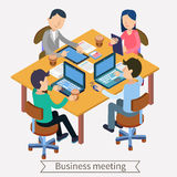Business Meeting and Teamworking Isometric Concept. Office Work. Ers with Laptops, Tablets and Documents. Vector illustration stock illustration