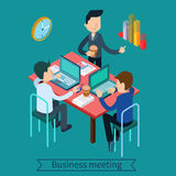 Business Meeting and Teamworking Isometric Concept Stock Image