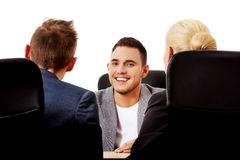 Business meeting-three people sitting and talking Stock Photo