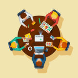 Business Meeting Top View Flat Poster Royalty Free Stock Image