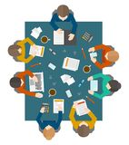 Business meeting in top view Royalty Free Stock Image