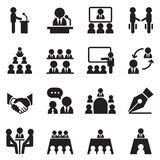 Business Meeting, Training, Seminar, Interview, Conference icon. Business Meeting, Training, Seminar, Interview, Conference, Recruitment icons set Vector Royalty Free Stock Image