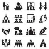 Business Meeting, Training, Seminar, Interview icons Stock Images