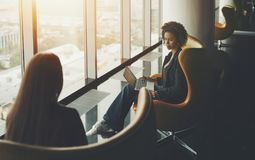 Two businesswoman at meeting in office stock photo
