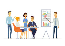 Business Meeting - modern vector cartoon characters illustration Stock Photography