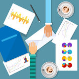 Business Meeting Workplace Finance Graph Charts Document Desk. Flat Vector Illustration Stock Images