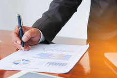 Business meetings, documents, sales analysis, Analysis Results stock image