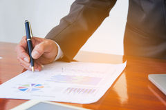 Business meetings, documents, sales analysis, Analysis Results stock photos