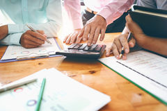 Business meetings with government and private borrowers with co-workers and a tax advisor to assign roles of employees in the org. Business meetings with royalty free stock photo
