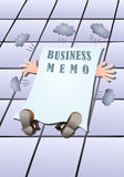 Business memo struck down. Illustration of a businessman struck down by  business memo to finished Royalty Free Stock Images