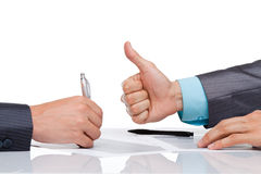 Business men. Business man hands at the desk over white background royalty free stock photos