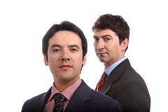 Business men. Two young business men portrait on white Royalty Free Stock Photo