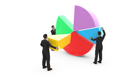 Business men assembling a pie chart Royalty Free Stock Photography