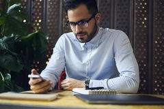 Business men in blue shirt connected to free 5G wireless Stock Image
