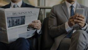 Business Men Break Sit Read Newspaper stock images