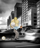 Business men carrying coins on his back Stock Image