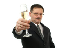 Business men with champagne. Stock Photo